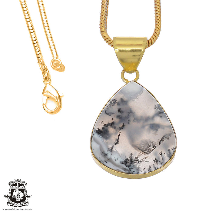Dendritic Opal 24K Gold Plated Pendant 3mm Snake Chain GPH844