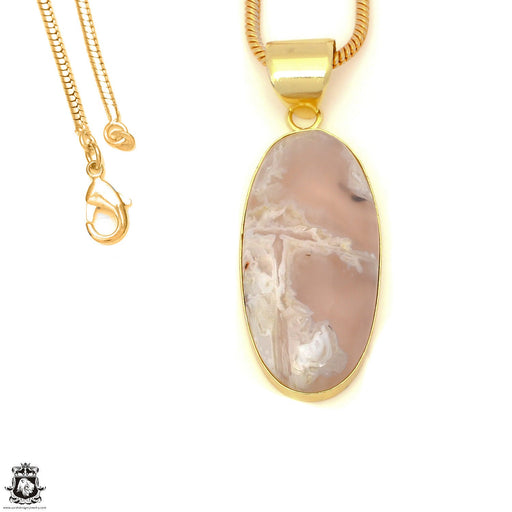 Stick Agate 24K Gold Plated Pendant 3mm Snake Chain GPH1575