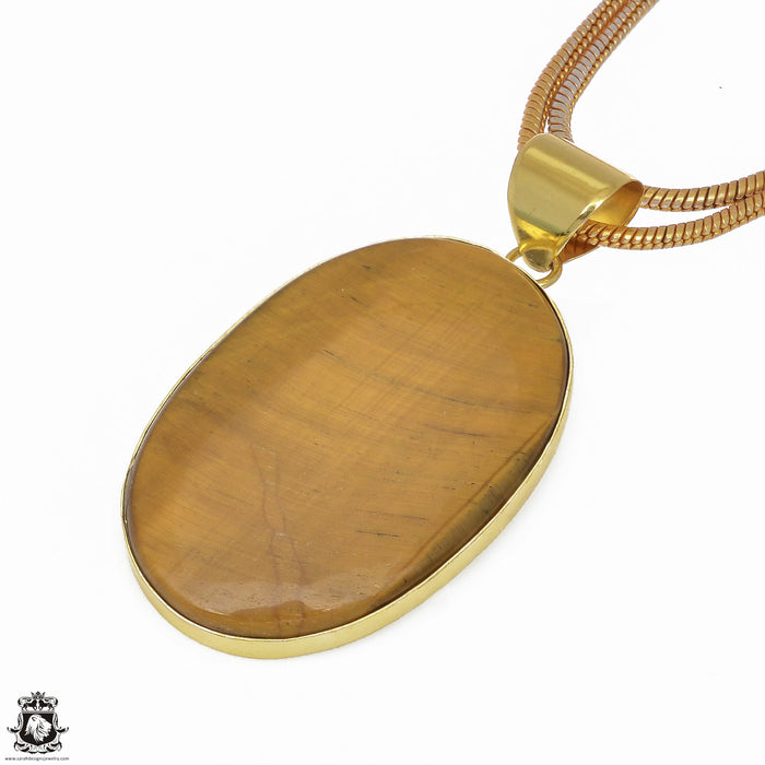 Tiger's Eye 24K Gold Plated Pendant 3mm Snake Chain GPH639