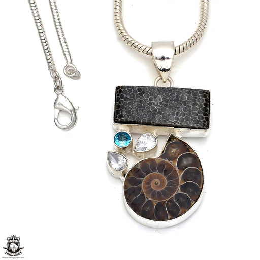 Ammonite Pendant 4mm Snake Chain P8382