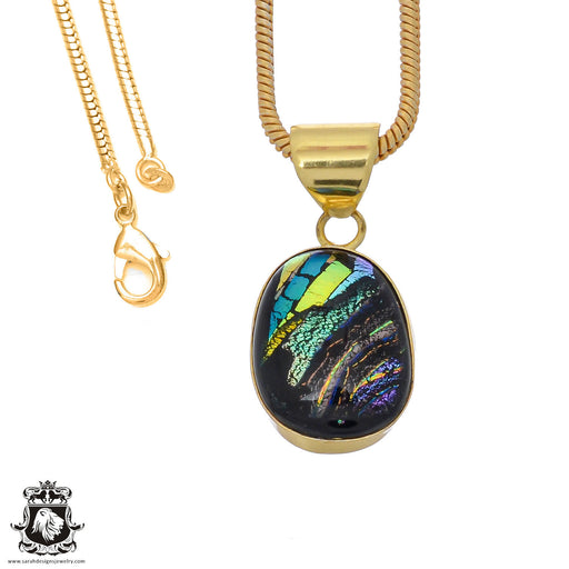 Dichroic Glass 24K Gold Plated Pendant 3mm Snake Chain GPH786