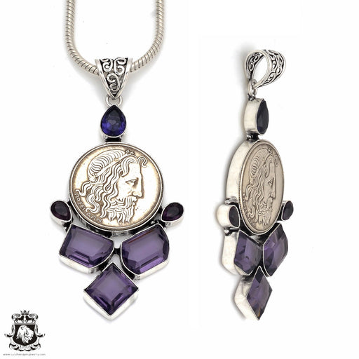 Amethyst Reissued Greek Coin Pendant 4MM Snake Chain P8632