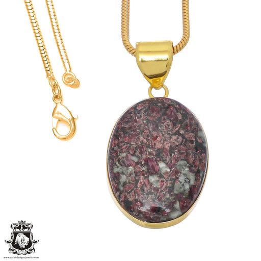 Eudialyte 24K Gold Plated Pendant 3mm Snake Chain GPH768