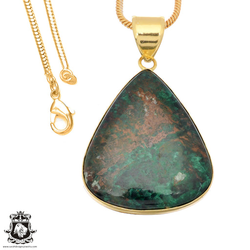 Sonora Sunrise Jasper 24K Gold Plated Pendant 3mm Snake Chain GPH1491