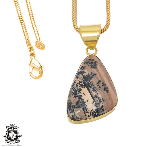 Merlinite Dendritic Opal 24K Gold Plated Pendant 3mm Snake Chain GPH763