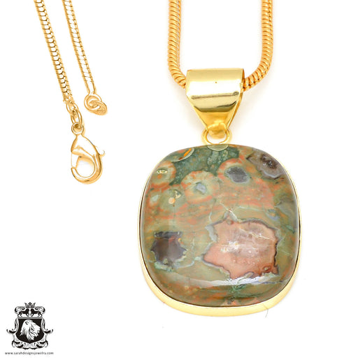Rhyolite 24K Gold Plated Pendant 3mm Snake Chain GPH472