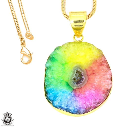 Rainbow Stalactite 24K Gold Plated Pendant 3mm Snake Chain GPH1213