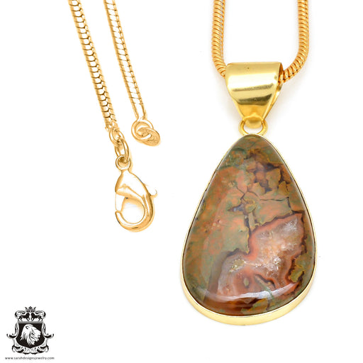 Rhyolite 24K Gold Plated Pendant 3mm Snake Chain GPH467