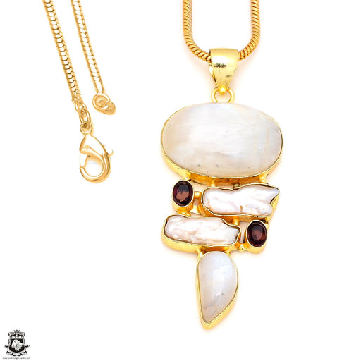 Moonstone 24K Gold Plated Pendant 3mm Snake Chain GP208