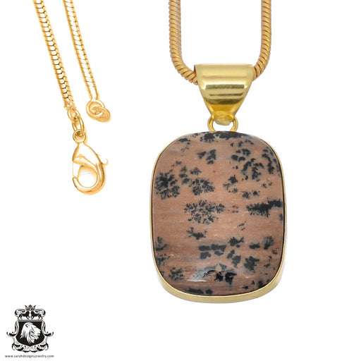 Merlinite Dendritic Opal 24K Gold Plated Pendant 3mm Snake Chain GPH754