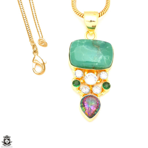 Russian Chrysoprase Mystic Topaz 24K Gold Plated Pendant 3mm Snake Chain GP238