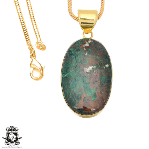 Sonora Sunrise Jasper 24K Gold Plated Pendant 3mm Snake Chain GPH1487
