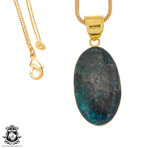 Chrysocolla 24K Gold Plated Pendant 3mm Snake Chain GPH1241
