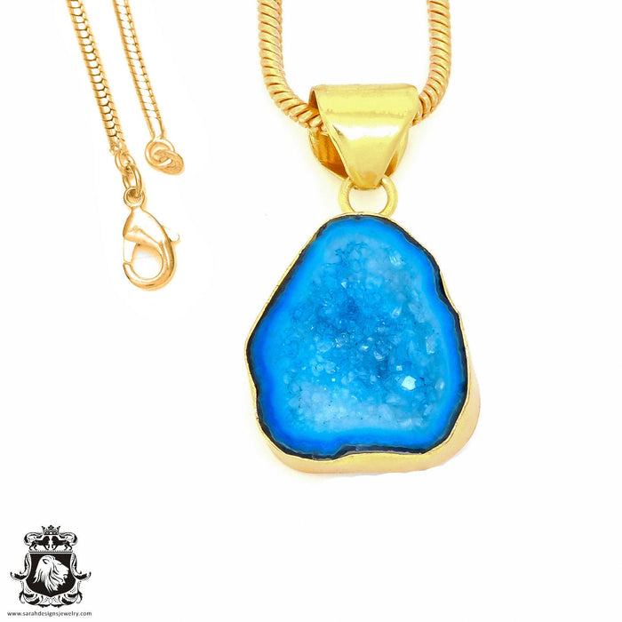 Tabasco Geode 24K Gold Plated Pendant 3mm Snake Chain GPH860