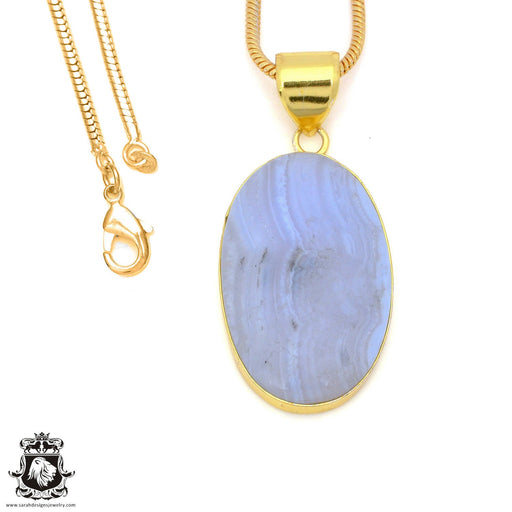 Blue Lace Agate 24K Gold Plated Pendant 3mm Snake Chain GPH1498