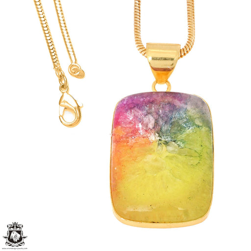 Rainbow Stalactite 24K Gold Plated Pendant 3mm Snake Chain GPH1137