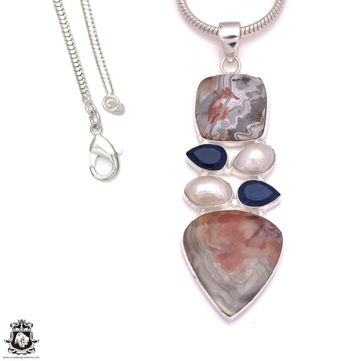 4 Inch Crazy Lace Agate Sapphire Pendant 4mm Snake Chain P8238