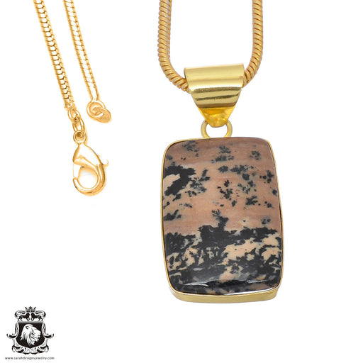 Merlinite Dendritic Opal 24K Gold Plated Pendant 3mm Snake Chain GPH757