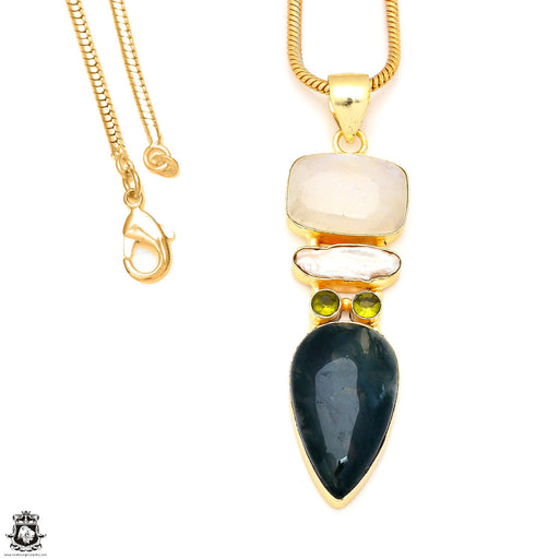 Moonstone Moss Agate 24K Gold Plated Pendant 3mm Snake Chain GP223