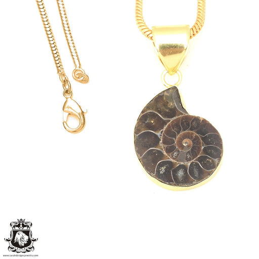 Ammonite 24K Gold Plated Pendant 3mm Snake Chain GPH674