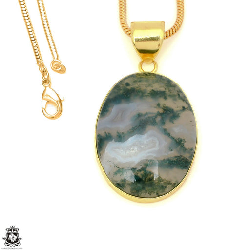 Moss Agate 24K Gold Plated Pendant 3mm Snake Chain GPH1608