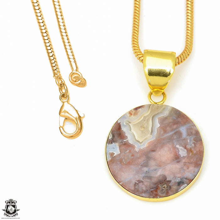Crazy Lace Agate 24K Gold Plated Pendant 3mm Snake Chain GPH614