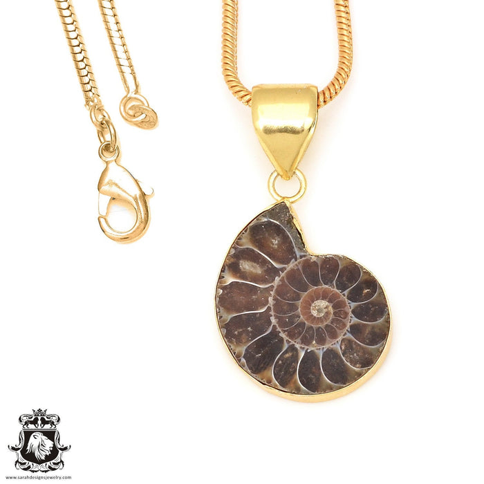 Ammonite 24K Gold Plated Pendant 3mm Snake Chain GPH667