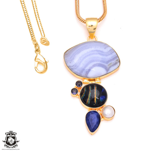 Blue Lace Agate Dichroic Glass 24K Gold Plated Pendant 3mm Snake Chain GP194