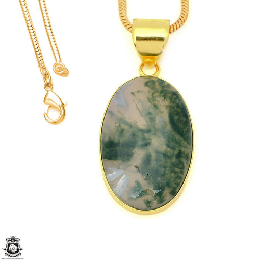 Moss Agate 24K Gold Plated Pendant 3mm Snake Chain GPH1611