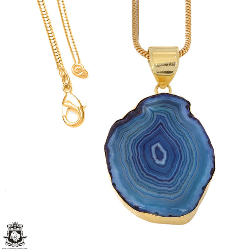 Ocean Blue Stalactite 24K Gold Plated Pendant 3mm Snake Chain GPH1153
