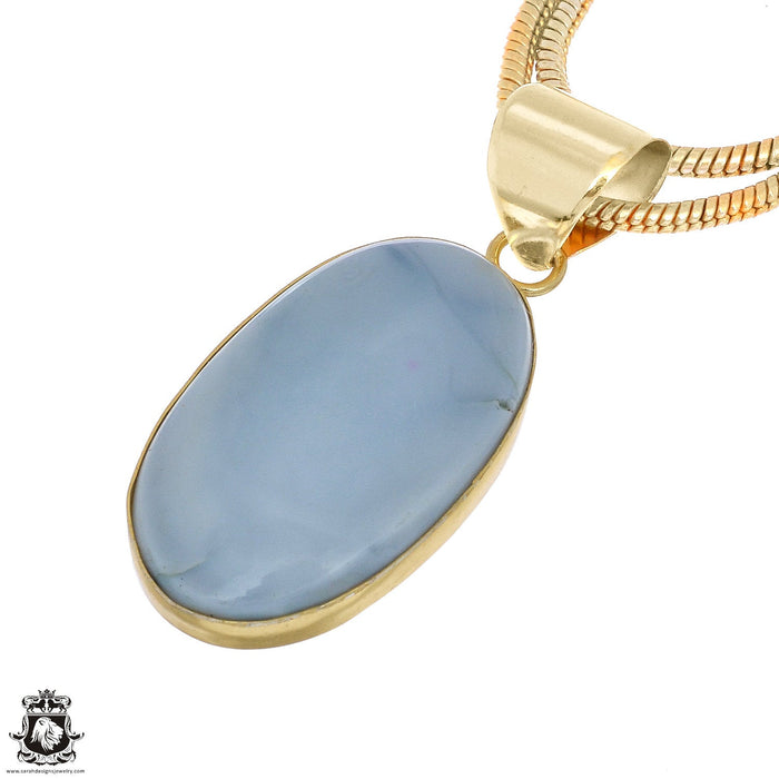 Owyhee Blue Opal 24K Gold Plated Pendant 3mm Snake Chain GPH1068