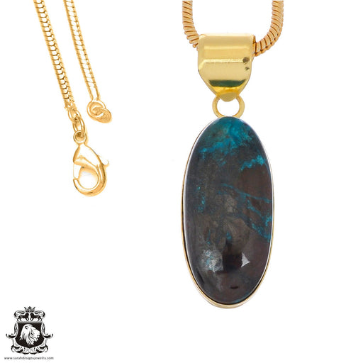Chrysocolla 24K Gold Plated Pendant 3mm Snake Chain GPH1240