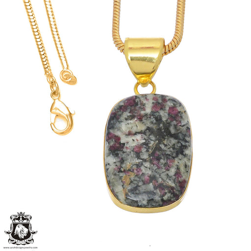 Eudialyte 24K Gold Plated Pendant 3mm Snake Chain GPH771