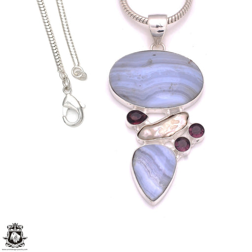 3.5 Inch Blue Lace Agate Pendant 4mm Snake Chain P8250