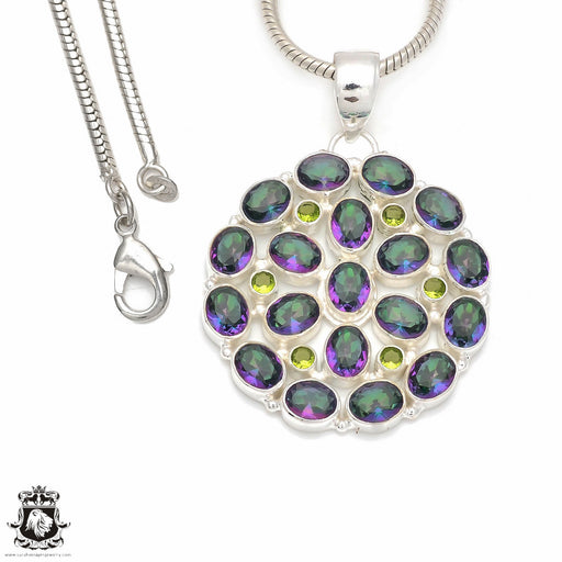 Genuine 123 carats Mystic Topaz Pendant 4mm Snake Chain P8497