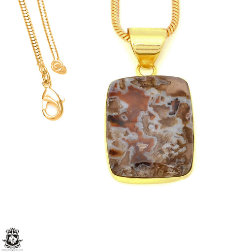 Stick Agate 24K Gold Plated Pendant 3mm Snake Chain GPH1584