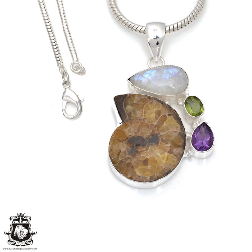 Ammonite Moonstone Pendant 4mm Snake Chain P7844