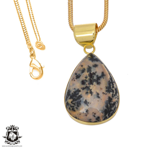 Merlinite Dendritic Opal 24K Gold Plated Pendant 3mm Snake Chain GPH752