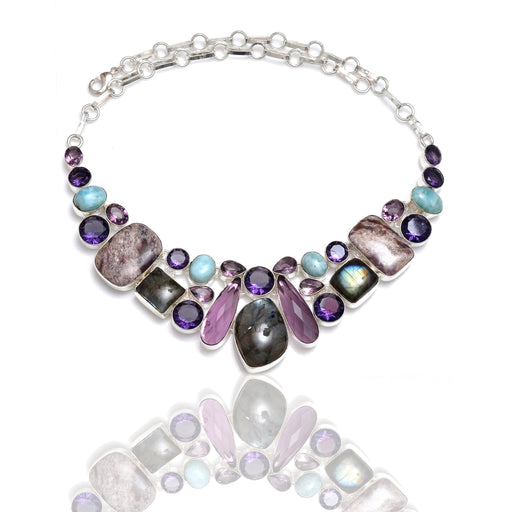 Labradorite Charoite Amethyst Necklace NK154