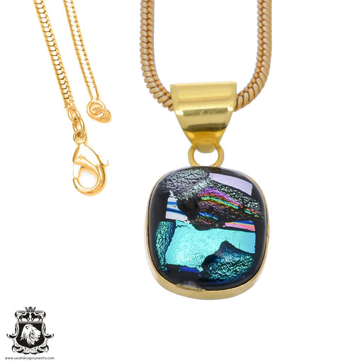 Dichroic Glass 24K Gold Plated Pendant 3mm Snake Chain GPH789