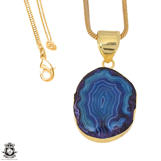 Ocean Blue Stalactite 24K Gold Plated Pendant 3mm Snake Chain GPH1158