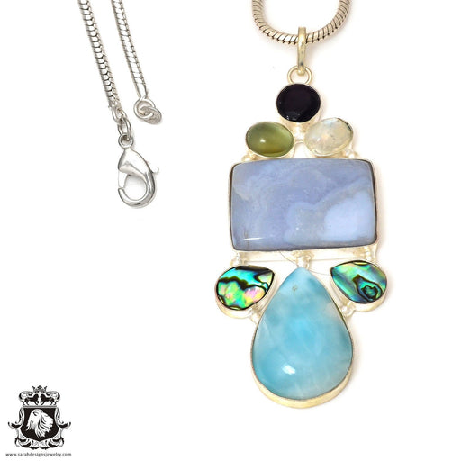 Blue Lace Agate Abalone Moonstone Pendant 4mm Snake Chain P7554