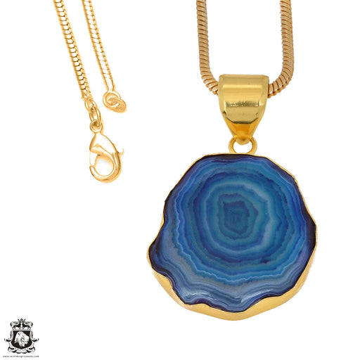 Ocean Blue Stalactite 24K Gold Plated Pendant 3mm Snake Chain GPH1154