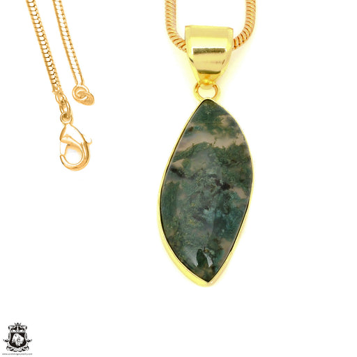 Moss Agate 24K Gold Plated Pendant 3mm Snake Chain GPH1609