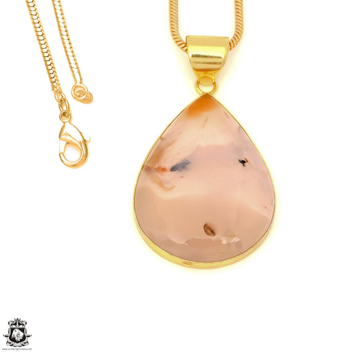 Stick Agate 24K Gold Plated Pendant 3mm Snake Chain GPH1573
