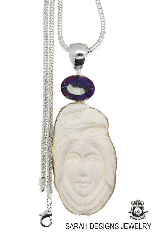 Cameo Lady Eagle Pendant 4mm Snake Chain C39