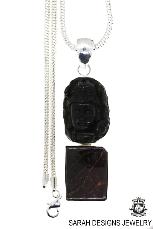 Obsidian Buddha Ammolite 925 Sterling Silver Pendant 4mm Snake Chain A40