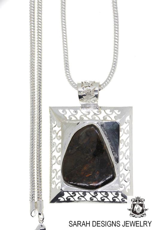 Ammolite 925 Sterling Silver Pendant 4mm Snake Chain P1474