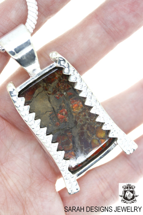 Ammolite 925 Sterling Silver Pendant 4mm Snake Chain P1486