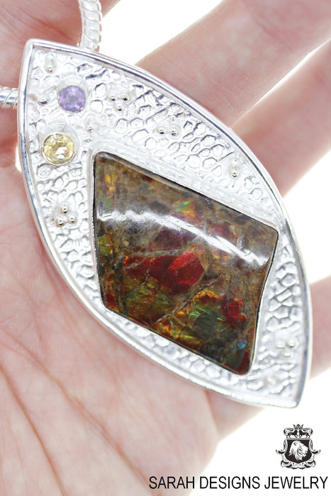 Ammolite 925 Sterling Silver Pendant 4mm Snake Chain P1506